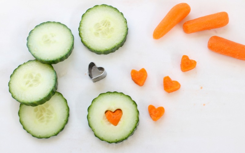 heart shaped veggies