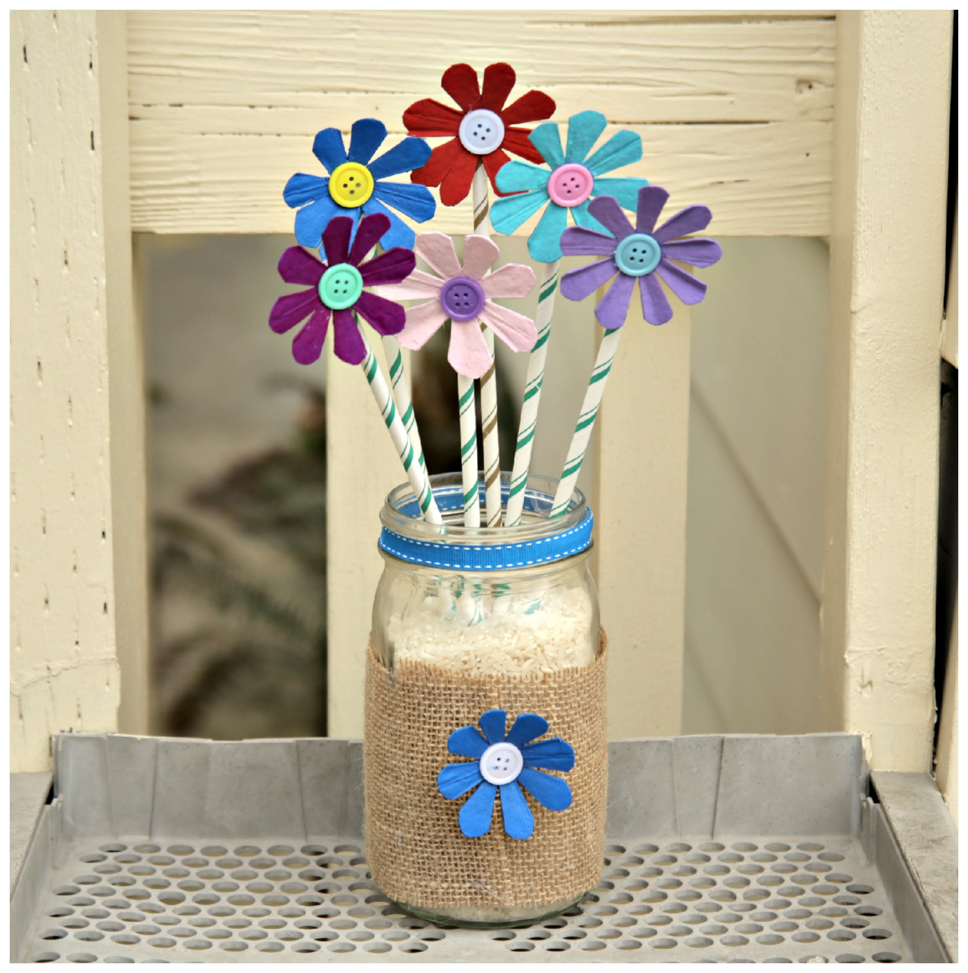 Recycled Egg Carton Flower Arrangement Craft