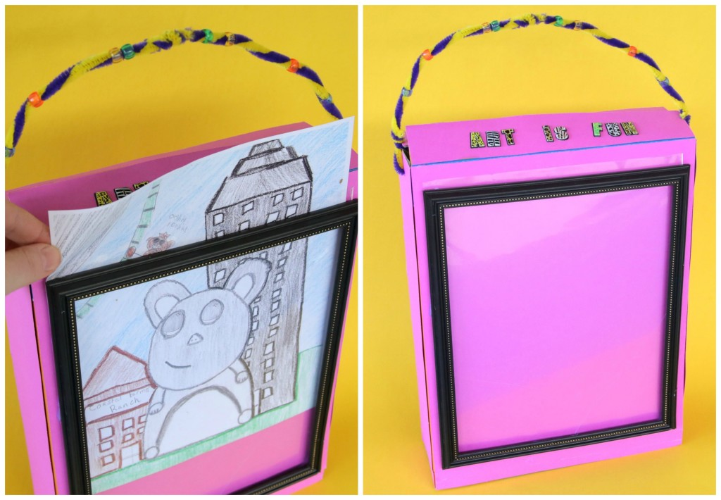 Art is Fun portable art kit - with changeable gallery frame for kid's art