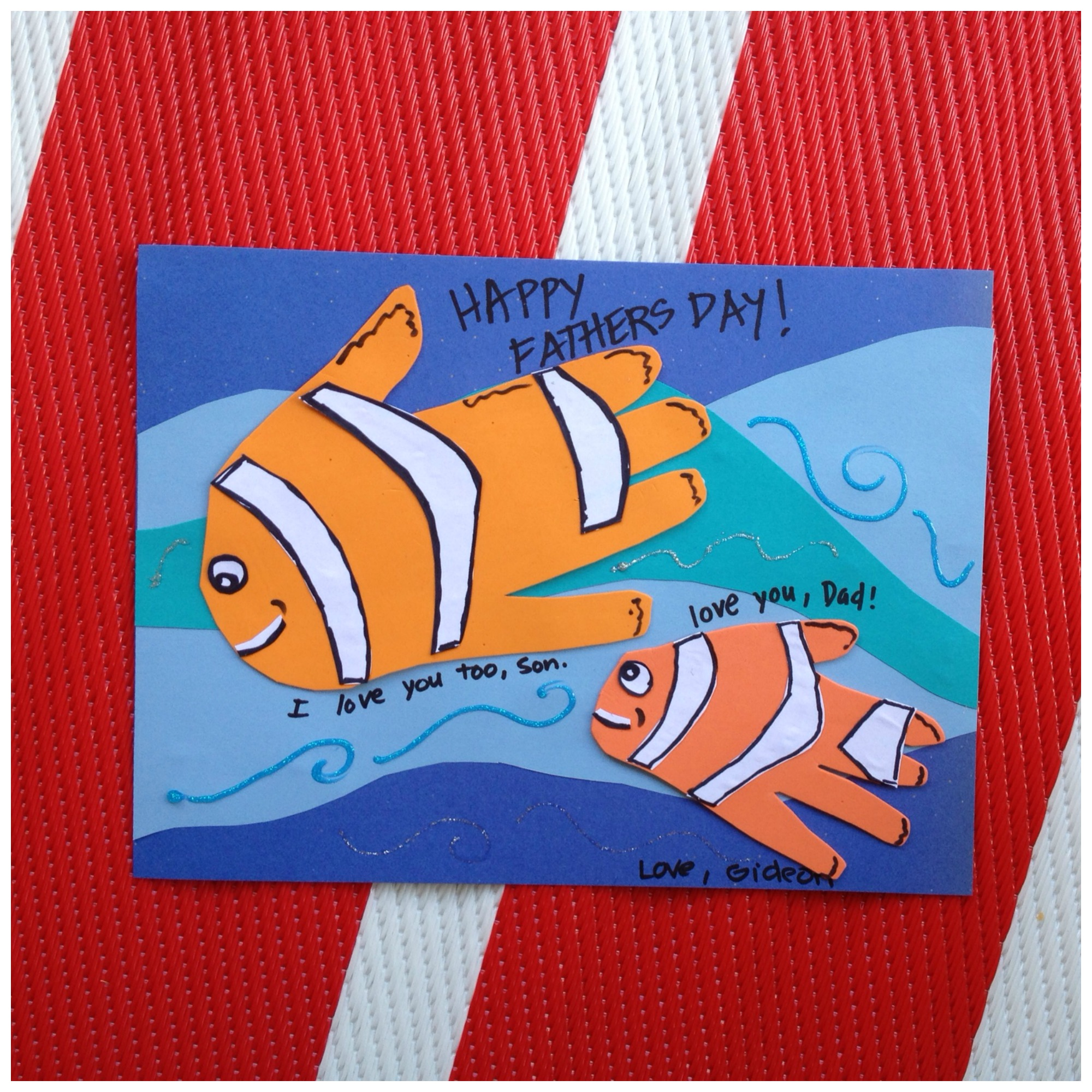 Fish handprint father s day craft kix cereal for Father s day fishing card