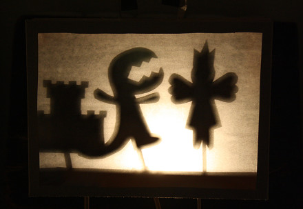 Shadow Puppets in a Cereal Box Theater