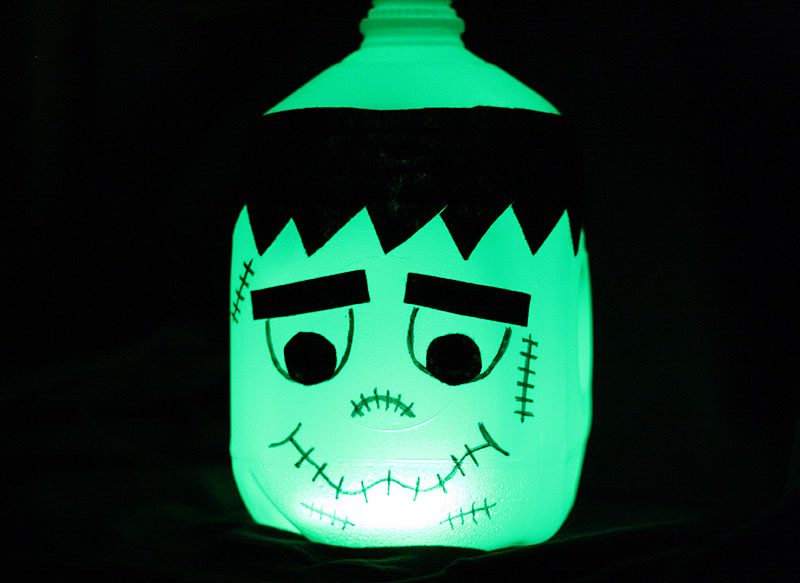 glowing frankenstein milk jug amandaformaro kixcerealcom - Milk Carton Halloween Ghosts