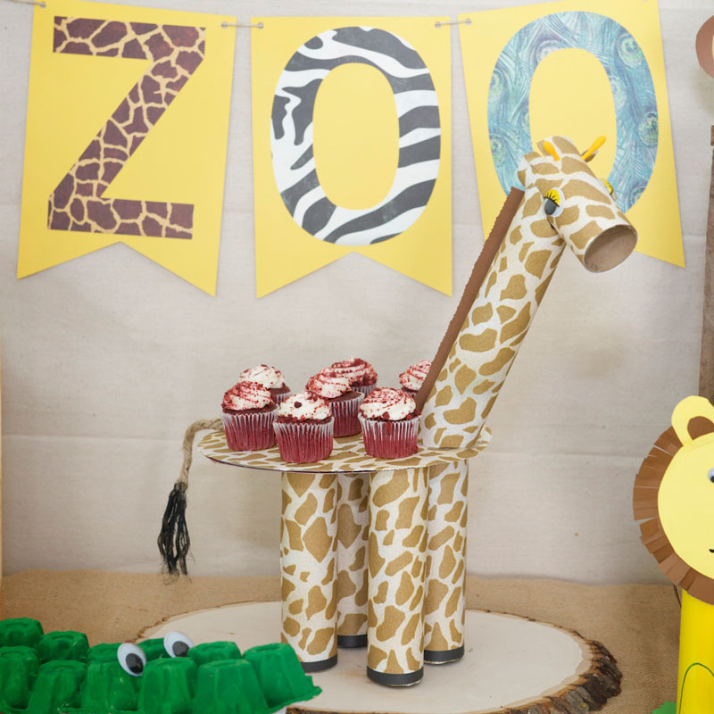 Mom's giraffe cake stand for Zoo party