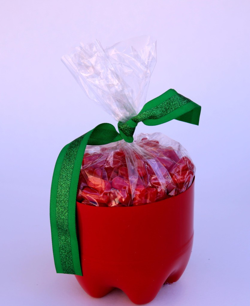 Recycled soda bottle apple container - teacher appreciation gift idea