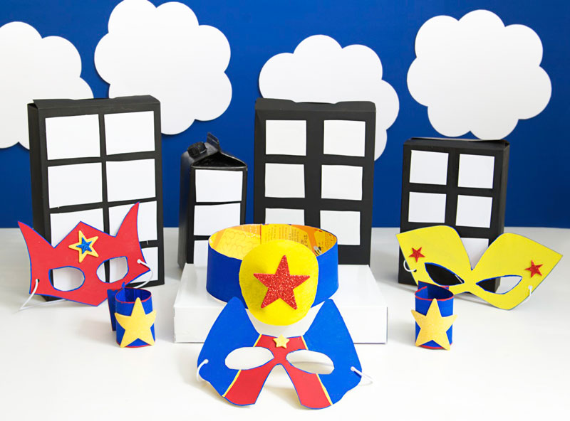 Superhero party cereal box costume crafts