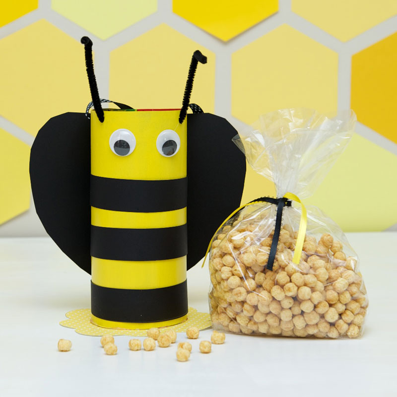 Cereal box bee party favor