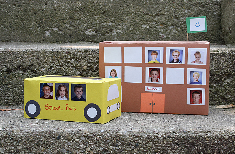 Tissue Box School Bus and Cereal Box School by Amanda Formaro for Kix Cereal